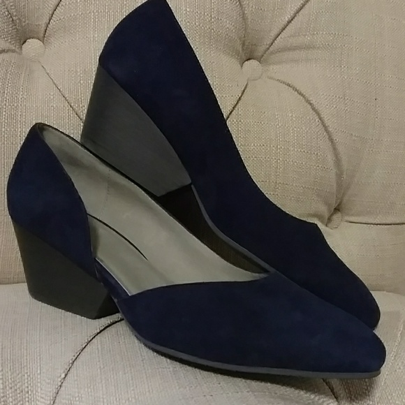 67f72b2768d2 Eileen Fisher Shoes - Navy suede Eileen fisher d orsay cutout wedge